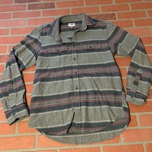 Old Navy Mens Grey Purple Striped Button Down Top